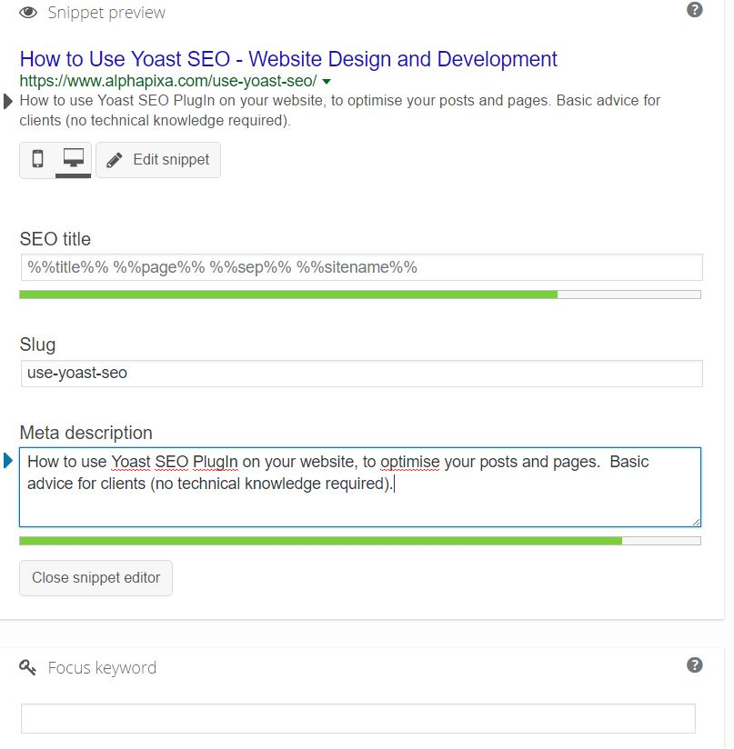 Yoast page title, focus keyword and meta description screenshot