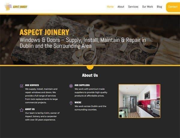 Screenshot of the Aspect Joinery Website by Alpha Pixa