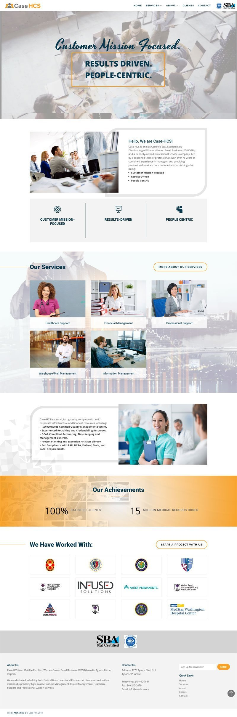website design for case hcs by alpha pixa