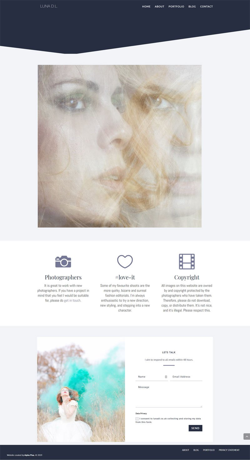 Screenshot of the Luna DL Website by Alpha Pixa