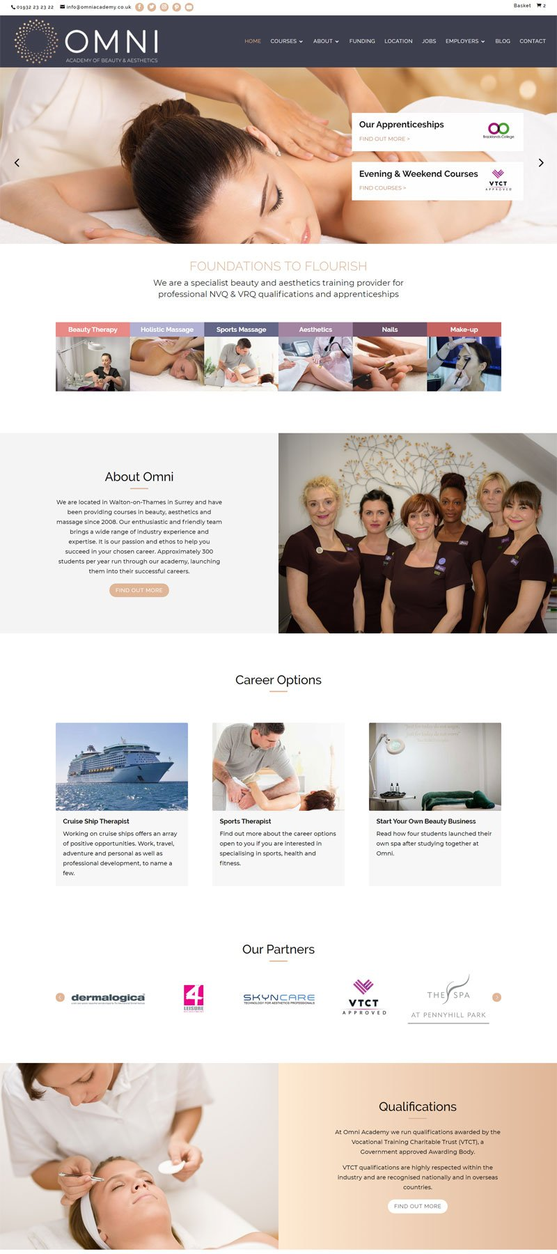 website design for omni academy of beauty by alpha pixa