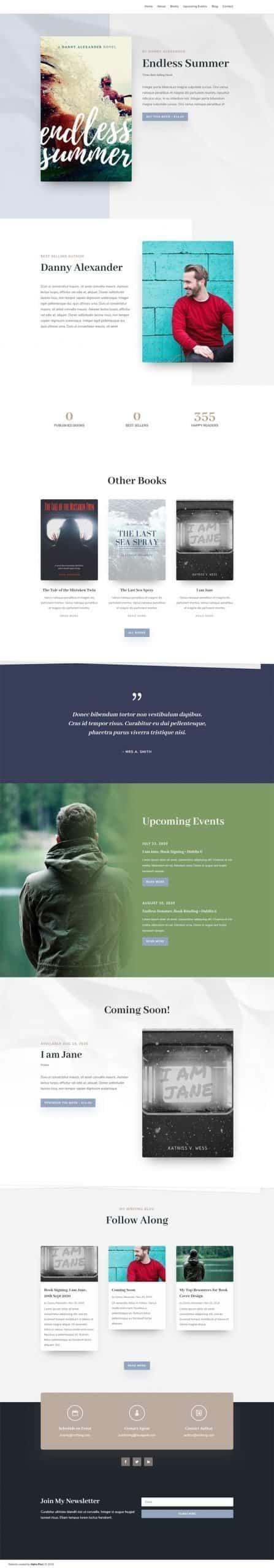Screenshot of the Author Website