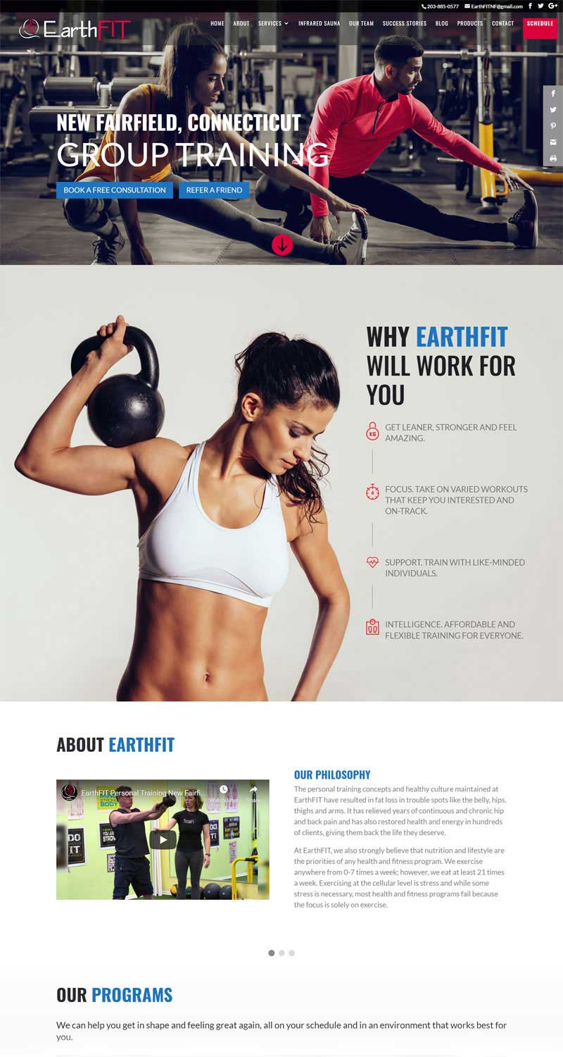 Screenshot of the EarthFIT New Fairfield Website by Alpha Pixa